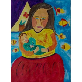 Vrouw met kind  en vissen - 5022