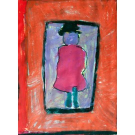 Dame in roze/rode jurk - Bertus Bruns