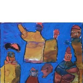 Mensen in blauw - Bertus Bruns
