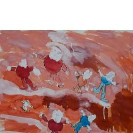 Springen in rood\roze - Rini Olde Meierink