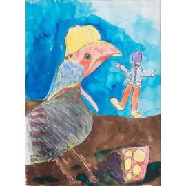 Vogel met pet - Rini Olde Meierink