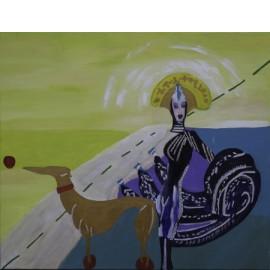 Vrouw met teckel - Monique van der Zalm