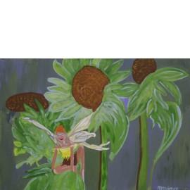 Fee tussen zonnebloemen - Monique van der Zalm