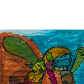Abstract (vorm in blauw) - 9757