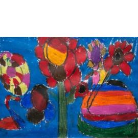 Rode bloemen in blauw - 5020