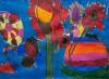 Rode bloemen in blauw - foto 2721