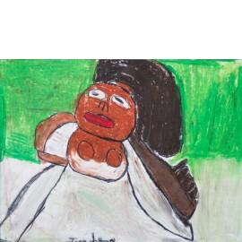 Witte jurk in groen - 5020