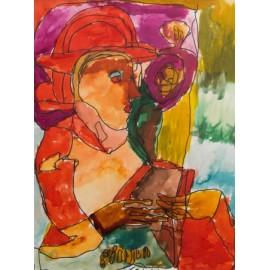 Vrouw met rode hoed en mantel - Trudy Voerman