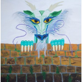 Chinese dragon peeking over the wall - Christa Vriezema