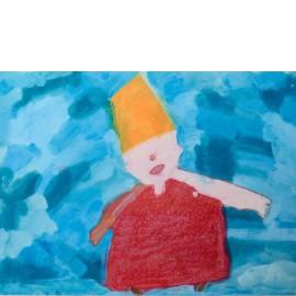 Blij in rode jurk - Martha van der Veer