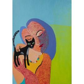 Vrouw met zwarte kat - 5043