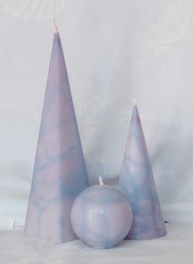 set van 3 kaarsen in diverse kleuren