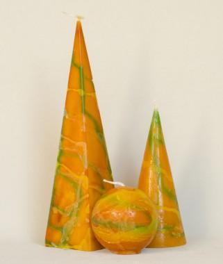 set van 3 kaarsen (diverse kleuren)